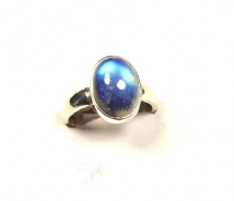 Rainbow Moonstone Ring Silver Oval 'One-Off' size P-P1/2